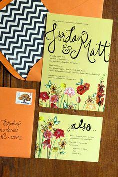 Yellow Orange and Chevron Floral Shower Invitation- set of 20. $180.00, via Etsy.