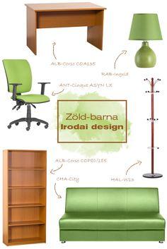 Vidám hangulatú irodaösszeállítás, hogy ezeket a szürke hétköznapokat színesebbé tegyük. Hiszen a munka is kellemesebben telik egy jó és harmonikus környezetben.#office#officedesign#ideas#officefurniture#sofa#chair#kanapé#ruhafogas#forgószék#íróasztal#desk#polc#shelf#iroda#irodadesign#irodabútor#íróasztalilámpa#green#zöld#barna#brown#ideas Ravenna, Office, Modern, Design, Home Decor, Trendy Tree, Decoration Home, Room Decor