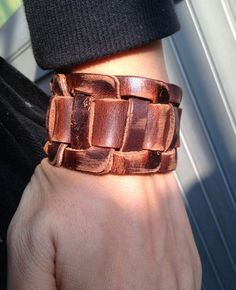 Antique Men's Brown Leather Cuff Bracelet Leather by pier7craft