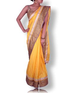 Marygold Yellow Silk Saree with Sequin/Gotapatti border |SwetaSutariya – Sweta Sutariya