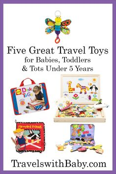 Five favorite travel toys for babies and toddlers, easy ways to keep kids busy and entertained during airplane rides and car trips. Toddler Preschool, Toddler Toys, Baby Toys, Kids Toys, Toddler Travel, Toddler Vacation, Travel With Kids, Family Travel, What To Pack For Vacation