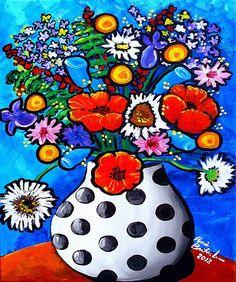 Divertido feliz verano ramo flores Whimsical colorido