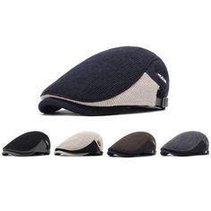 d098b3d80ffd6 Men Winter Warm Knit Beret Cap Adjustable Buckle Newsboy Cabbie Hat Visor  Flat Cap Chauffeur