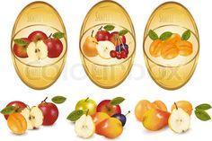 ••  Stock vector de 'Dos etiquetas amarillas con distintos tipos de fruta.  Vector. '