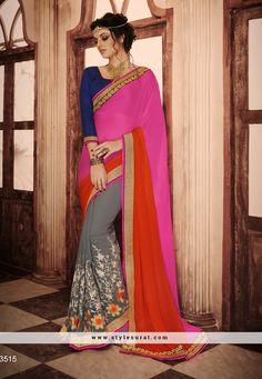 Georgette Fabric Multicolor Color Designer Party Wear Saree-3515