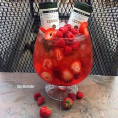 DRUNK IN LOVE PART 2  Raspberry Vodka  Strawberry Vodka  Watermelon Pucker Raspberry Peach Grand Marnier  Grenadine  Strawberry Margarita Mix Two Mini Champagne  Fresh Raspberries & Strawberries