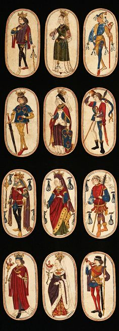 Set of Playing Cards, ca. 1470–1485, South Netherland, the only known complete deck of illuminated ordinary playing cards from the 15th century.