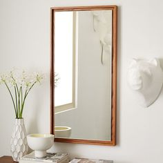 Floating Wood Wall Mirror, Chocolate or Black  $200 at West Elm