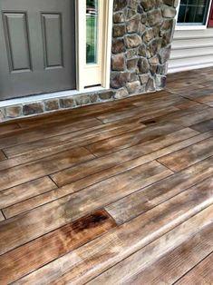 Concrete Wood Floor, Wood Stamped Concrete, Concrete Patio Designs, Concrete Porch, Stained Concrete, Concrete Lamp, Concrete Countertops, Painted Concrete Steps, Porch Entry
