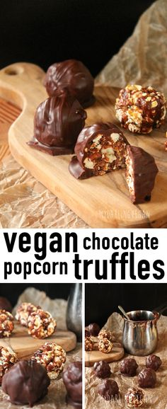 """Get truly creative with these vegan """"Milky Way"""" Chocolate Popcorn Truffles. Click the photo for the recipe!"""
