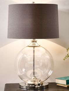 Glass ball table lamp and grey shade primroses glass and gray with its round weighty glass base and brushed metal detailing our lisbeth table lamp is classically beautiful this large elegant lamp includes a round aloadofball Image collections