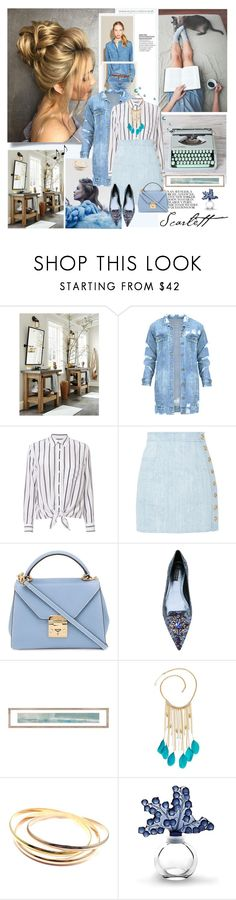 """""""RHYTHM & BLUES"""" by k-hearts-a ❤ liked on Polyvore featuring Hermès, Equipment, Balmain, Mark Cross, Dolce&Gabbana, GUESS, Cartier and Lalique"""