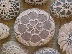 Crocheted Lace Stone Beige Handmade Pinkish Gray Stone by Monicaj. via Etsy.