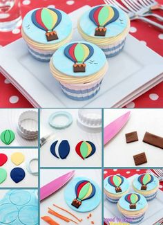 Hot Air Balloon Cookies, Balloon Cupcakes, Kid Cupcakes, Balloon Party, Birthday Cake Decorating, Cookie Decorating, Decorating Supplies, Fondant Cupcake Toppers, Cupcake Cakes