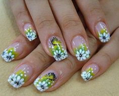 Cute Fake Nail Designs With White Daisy And Yellow Green Background