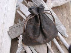 Leather Drawstring Pouch Bag  Distressed by Shirlbcreationstoo, $40.00