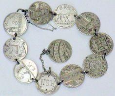 Victorian Vintage Silver Fancy Coins Charm Bracelet