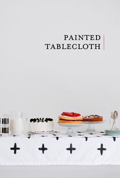 DIY graphic painted tablecloth