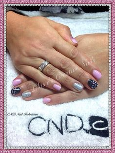 CND Shellac Cake Pop with Silver Holographic Rockstar ring fingers, Asphalt with Cake Pop hearts and polka dots and Baby Pink Glitter fade on thumbs. Created by Claire's Creative Nails, Northampton.