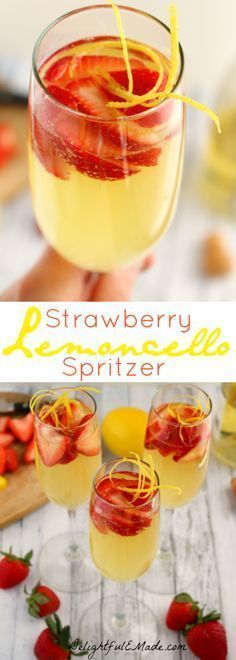 Strawberry Lemoncello Spritzers Move over mimosa, there's a new brunch cocktail in town! This sparkling, fresh drink features the Italian lemon liquor perfect with strawberries and Prosecco! Party Drinks, Cocktail Drinks, Fun Drinks, Cocktail Recipes, Beverages, Prosecco Drinks, Limoncello Cocktails, Drinks With Lemoncello, Gastronomia