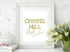 Chapel Hill gold foil print/Old Well print/Chapel Hill Tarheel/ UNC art/Tarheel art/Old Well Art/Chapel Hill North Carolina gold foil print by CatePaperCo on Etsy https://www.etsy.com/listing/572520807/chapel-hill-gold-foil-printold-well