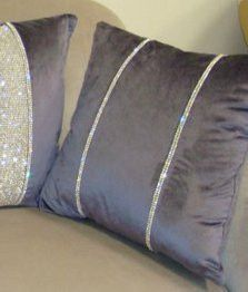 A stunning throw pillow from our Diamante Collection shown in a purple velvet with double rows of diamante. Glam Pillows, Diy Pillows, Custom Pillows, Decorative Pillows, Throw Pillows, Small House Decorating, Luxury Throws, Creation Deco, Crochet Cushions