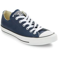 Converse Unisex Chuck Taylor Leather Sneakers (160 BRL) ❤ liked on Polyvore featuring shoes, sneakers, converse, navy blue, leather lace up shoes, leather shoes, cap toe shoes, converse sneakers and navy blue sneakers