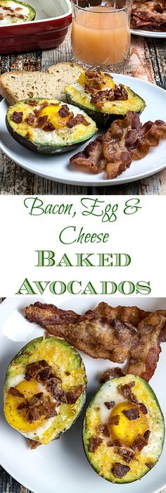 Repin to save recipe, click pin to get recipe! Bacon Egg & Cheese Baked Avocados are the perfect start to your morning. Nutritious, protein-rich eggs baked inside of wholesome avocados, sprinkled with cheese and topped with pieces of savory bacon. Only 4 ingredients and gluten free, it really doesn't get much better than this!
