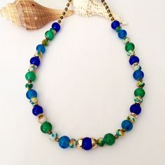Blue green bead necklace Short beaded by BarbsBeadedJewelry