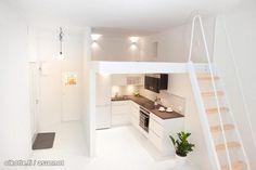 Clean white cityhome in under 25m2/ Puhtaan valkoinen citykoti alle 25 neliössä #tehoneliöt Studio Apartment, Little Houses, Small Apartments, Sweet Home, Bedroom, Furniture, White Interiors, Home Decor, Feels