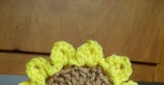 "Materials: Small amounts worsted weight yarn in yellow and brown Size H crochet hook Gauge: 2 rnds dc=1"" Size: 4 1/2"" in diamet..."