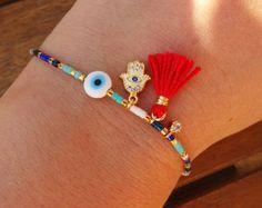 Azul y blanco oro Hamsa pulsera - pulsera Hamsa con borla de seda