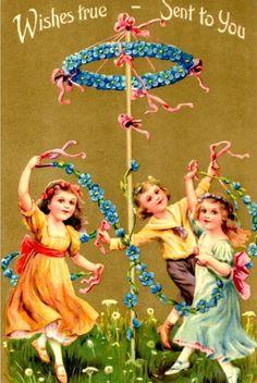 Mayday, May Maypole, Illustration, Vintage Card. Happy May Day!