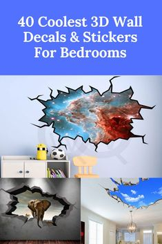 40 Coolest Wall Decals & Stickers For Bedrooms! Discover some incredibly cool Wall Decals For your Bedroom. We have compiled all of the coolest wall stickers for bedrooms that we could find! 3d Wall Decals, Wall Stickers, Headboard Alternative, Cool Bedroom Accessories, Bedroom Products, Awesome Stuff, Awesome Things, Unique Table Lamps, Unique Wall Art