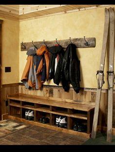 Rustic coat rack with shoe bin
