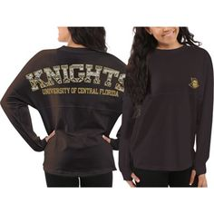 c06212e46d21 UCF Knights Women s Charcoal Aztec Sweeper Long Sleeve Oversized Top Ucf  College