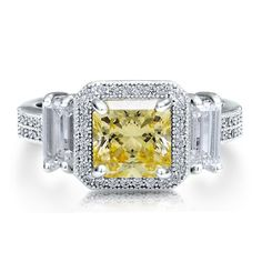 Sterling Silver 925 Princess Cut Canary Cubic Zirconia CZ 3-Stone Ring - Nickel Free Engagement Ring, Valentine Gift BERRICLE. $85.99. Nickel Free and Hypoallergenic. Stone Type : Cubic Zirconia. Gender : Women. Stone Total Weight (ct.tw) : 3.99. Metal : Stamped 925