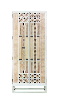 Kiln-dried mahogany and rattan form the Basilisa armoire from Ito Kish, showcasing a mix of Solihiya weave patterns to create an exquisite play of light.