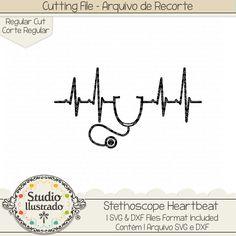 Stethoscope Heartbeat, Stethoscope, Heartbeat, batida coração, estetoscópio, estetoscopio, coração, love, doutor, dr, doctor, médico, medical, med, MD, health, saúde, medicina, medicine, enfermeira, enfermeiro, enfermeiros, nurse, arquivo de recorte, corte regular, regular cut, svg, dxf, png, Studio Ilustrado, Silhouette, cutting file, cutting, cricut, scan n cut