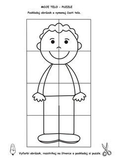 Color and make a puzzle Body Preschool, Preschool Learning, Kindergarten Activities, Preschool Activities, Teaching Kids, Body Parts Theme, Senses Activities, Coloring Pages For Kids, Pre School