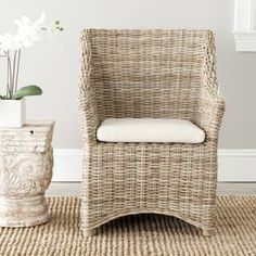 Safavieh Rural Woven Dining St Thomas Indoor Wicker Washed-out Brown Wing Back Arm Chair | Overstock.com Shopping - The Best Deals on Dining Chairs