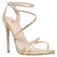Carvela Georgia Leather High Heel Strappy Sandals Gold