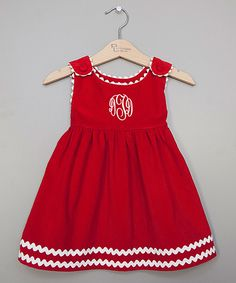 Look at this Princess Linens Red & White Monogram Jumper - Kids on #zulily today!