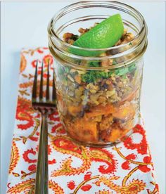 curried butternut squash mason jar salad