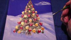 Naive Acrylic Painting Snowy Winter Landscape Part 3, Christmas Tree, Art by Brigitte König