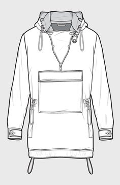 Anorak jacket with kangaroo pouch (move the pouch closer to the hemline) Flat Drawings, Flat Sketches, Technical Drawings, Fashion Design Template, Fashion Templates, Fashion Design Drawings, Fashion Sketches, Drawing Fashion, Fashion Flats