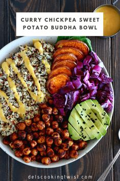 Curry Chickpea Sweet Potato Buddha Bowl Healthy nourishing and proteinpacked this vegan buddha bowl has it all fluffy quinoa crispy spiced chickpeas mixed greens and a cu. Healthy Meals, Healthy Eating, Healthy Cooking, Best Healthy Recipes, Healthy Cafe, High Protein Vegan Recipes, Healthy Grains, Dinner Healthy, Healthy Dishes