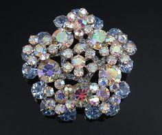 Juliana Brooch, Blue Rhinestone Brooch, Delizza Elster Jewelry, Snowflake Pin, Vintage Jewelry