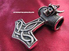 """316L Surgical Steel """"Thor's Hammer"""" Viking Skull Pendant"""