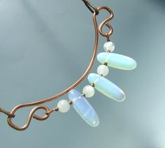 Copper moonstone and opalite necklace with milky white stone beads copper wire wrapped jewelry by VeraNasfa